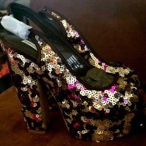Platform Confetti  Sequin Sling Back Sandals